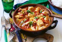 ຮoups, ຮtews ♨ ℂhili / Evidence of the soup can be found as far back as about 20000 BC.Now enjoyed hot or cold. Stew is a simmered dish: of meat, fish, &/or vegetables by slow simmering. Chili -- or chili con carne -- probably originated in Texas, variations are cooked and enjoyed throughout United States.  My favorites; white bean turkey chili, ajo blanco & Blessed be the Italian chef (or madre) who came up with Cioppino! / by Sandra Lee Larsen