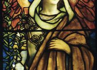 Tiffany's Swedenborgian Angels / These seven windows were commissioned for a church in Cincinnati in 1902. Each window depicts an angel representing one of the seven churches described in the book of Revelation. The windows were designed and created in the famous studios of Louis Comfort Tiffany.  After the church was razed, the windows were held in storage for several decades. They were rediscovered, restored, and are traveling to museums and galleries through the nonprofit In Company with Angels. / by Swedenborg Foundation