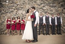 Wedding Plans for Me / Charcoal, Crimson & White grapevine / moss / red roses / charcoal ribbon / white lights / by Crystal Klarich