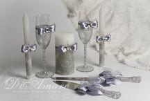 wedding glasses and cake♡♡ / by Ana Montero