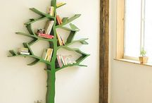 cute tree decor shelves / by Karen Haberstich Meadows