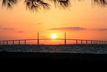 Sunshine Skyway Bridge / The Bob Graham Sunshine Skyway Bridge spans Tampa Bay, Florida and has a length of 4.1 miles connecting St. Petersburg in Pinellas County and Terra Ceia in Manatee County, Florida, passing through Hillsborough County waters.  / by Safety Harbor Resort and Spa