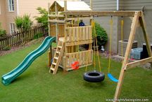 Backyard Play Spaces / Kids need to go outside and play! Here are some fun ideas for play spaces and projects such as sandboxes, swing sets, and playhouses.  / by Quilts Just 4 Kids