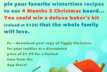 4 Months 2 Christmas / With just four months to go until Christmas, we're already getting into the spirit of the season! Follow @TigglyKids on Pinterest and pin your favorite wintertime recipes to this board... You could win a deluxe baker's kit (valued at $125) that the whole family will love. And download your copy of Tiggly Christmas for only $1.99 for a limited time from the App Store! / by Tiggly Kids