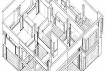 Axonometric + Isometric Drawings / the style of architectural drawing which combines more than one viewpoint of an object, building or city / by Helen McCormack