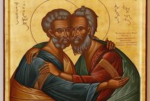 Sts. Peter and Andrew / St. Peter is considered the leader of the first 12 apostles of Jesus Christ and the founder, along with the Apostle Paul, of the historic Church of Rome. His brother, St. Andrew, was the first-called among the first 12 apostles of Jesus Christ and the founder of the Church of Constantinople, also known as the New Rome. / by Greek Orthodox Archdiocese of America