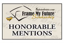 """Honorable Mentions - 2014 Frame My Future Scholarship Contest / Frame My Future Scholarship Contest is an annual scholarship hosted by Church Hill Classics. It allows students to submit an original and creative entry piece that shares how they want to """"frame their future"""". There is a total of 24 Finalists competing to win one of the five $1,000 scholarships during a one month public voting round. Below are the 36 Honorable Mentions for the 2014 scholarship contest! Repin your favorites! www.framemyfuture.com / by Church Hill Classics"""