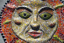 my mosaic art / I use many dishes in my work, but also glass, tile, and found objects.   / by Liz Brase