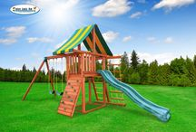 """Wooden Swing Sets / Eastern Jungle Gym has been """"Creating Childhood Memories"""" for more than 22 years, and is one of the industry leaders in the backyard swing set market. All swing sets are 100-percent cedar and can be customized for the most active kids. Check out some of our featured models! / by Best in Backyards"""