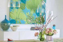 turquoise & green decor / by Anne Edenloff