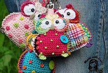 Gehaakte uilen owl / In alle soorten en maten. Voor sleutelhangers en tasjes enz  / by greta devassy