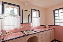 Pink Tile Bathroom Help / by Val Wenner
