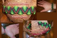 joyeria en macramé y otros / pulseras,aretes.collares en macrame y otros / by Sofy Cornell