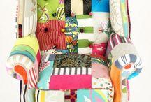 Sillones, telas, muebles coloridos / Sillones tapizados con telas brillantes,  muebles pintados y revestidos con mucho color / by Urriza Liliana