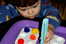 Tot School Tot Trays / Scroll through to see almost all of our Tot Tray ideas!  Bottom begins with my son K, and ends with my daughter on the top! See more about Tot Trays here ~ http://www.1plus1plus1equals1.net/2009/02/behind-scenes-tot-trays/ / by {1plus1plus1} Carisa