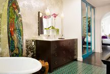 Bathroom Inspiration Board / We are working on remodeling our main bathroom. All four walls and the ceiling was a bright orange pink. Our makeover is all about a neutral palette with bright accents and artwork.  / by Andrea Starace
