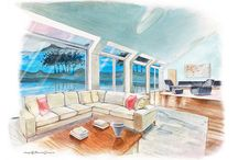 Architectural Illustrations / Exterior / interiors renderings / by Francesca Tesoriere - BiancodiZinco