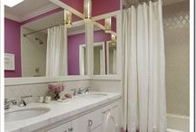 """guest friendly kid's (girls) bathroom / This bathroom will need to work as a family bathroom used by kids, and as a backup to the powder room.  Would like it to be able to look """"kid free"""" when company is over.   / by Colleen Shively"""