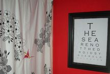Main Floor Bathroom / red walls, white - maybe black & white - accents / by Andrea Hable