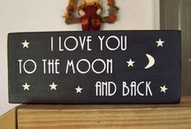 I Love you to the  moon and back / I Love you to the  moon and back wooden plaques / by Wooden Signs Company, LLC