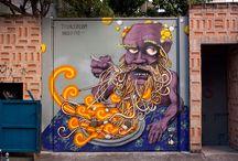 Street art / street art (urban art, guerrilla art): graffiti, stencil graffiti, sticker art, street installations, sculptures / by Strawberry and Hearts
