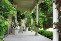 GARDEN Sitting Areas ♥ / Porches, patios, decks: places to sit in urban or rural home gardens including garden furniture and decor. / by Melissa @EmpressOfDirt.net  ❤