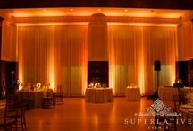 amber uplighting / by Superlative Events