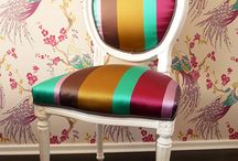 reupholstering furniture / old furniture given a facelift / by Deb Miles