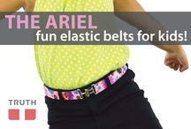 The Ariel Kids Belt from Truth  / The Ariel belt is perfect for kids because it's made from elastic. It comes in one size and is adjustable. It's perfect for kids ages 2 to tween. It comes in many different patterns. The interlock buckle is easy to use. This belt is made in Canada by a company called Truth! $24.00 / by Truth Belts - Vegan Fashion