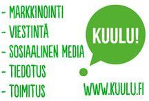 Kuulu! - My own marketing communications & social media office / www.kuulu.fi Kuulu on online näkyvyyteen ja online-markkinointiin painottuva markkinointiviestintätoimisto Oulussa. #markkinointi #viestintä #social media #sosiaalinen media #SEM #SEO #tiedotus  / by Kuulu