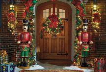 Christmas front door decorated / by celeste jones