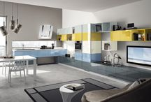 Tetrix - Kitchens / Design by Michael Young | With modules of different sizes the kitchen is articulated in endless configurations that show their character also through the colour selection  / by Scavolini