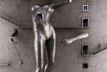 Adam Martinakis / Luban, Polonia, 1972  Artista digital y diseñador de interiores crea imágenes 3D por ordenador, imágenes surreales y abstractas de personajes humanos dentro de mundos ficticios, destacan ciertos matices destructivos pero también cargados de contenido y expresividad, escenas  completamente fuera de la realidad que impactan y captan la atención del espectador. Su obra de cuerpos etéreos que se proyectan en el espacio y elementos oníricos que se nutren de sueños puede resulta enormemente realista. / by Senyor ERЯE