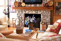 TVs above fireplace / by Jamie Newton