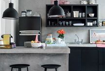 House Ideas: Kitchen & Dining / Dark walls and cabinets with bright pops of primary colors in the kitchen!  / by Ashley Shade
