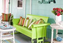 Pool house down stairs / Kitchen & bathroom walls the blue - kitchen cabinet green / by Priscilla Crane