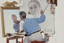 """Great American Illustrators / """"No man with a conscience can just bat out illustrations. He's got to put all his talent and feeling into them!"""" —Norman Rockwell / by Rick Hemphill"""