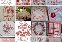 Red Work - Cross Stitch & Embroidery / Red Work Patterns, for Embroidery or Cross Stitch use. / by Julie Piggott