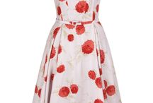 Lucille Fifties Floral Dress - Poppy / New in for SS14 this fabulous retro style dress is packed with charm and full of 1950's spirit. A unique, playful silhouette with a modern perspective. A flattering silhouette with a close fitting bodice which is slightly drop waisted, highlighted by a skinny self fabric belt, and then falls into a fluid full skirt.  / by Suzannah
