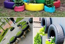 Tires ... decorated/recycled / by Dianne Stewart