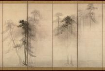 "The Art of Folding Screens - ""byobu"" / Byōbu (屏風?, wind wall) are Japanese folding screens made from several joined panels, bearing decorative painting and calligraphy, used to separate interiors and enclose private spaces, among other uses. / by amator"