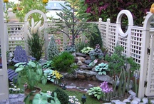 A Mini Outdoor living & Gardening place / For Dollhouse Exteriors such as patios & outdoor living areas, gardens, porches, gazebos, barnyards, etc.  / by Nina Eary