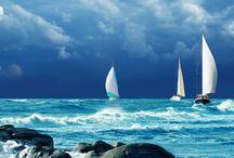 """~ Water, Sailing, Ships, Boats ~ / """"Hark, now hear the sailors cry,   smell the sea, and feel the sky   let your soul and spirit fly, into    the mystic...""""  Van Morrison / by Anna Maria Mazzi"""