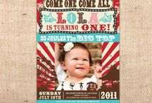 Vintage Carnival Circus Party Printables / DIY vintage style carnival and circus party printables including invitations, party favor tags, banners, thank you notes, cpcake toppers, party circles, party signs, straw flags, etc. / by Ian & Lola Invitations and Printables