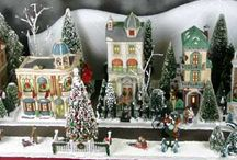 It takes a Village : ) / If you have never put a village togethor you have no idea of how fun it is...it's your own little town ; ) decorated for Santa : ) / by Marybeth Sims