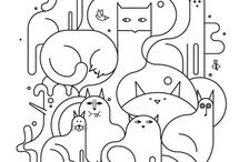 cat illustration / cats in all their drawing form / by Karuski's little shop of colours
