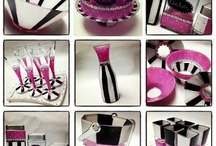 Cafe / Geometric and fun the new café collection is a mix match of pink polka dot and black and white stripes.  A neat feature on these pieces is the chalkboard paint area where you can write the name of the cake you will be serving to your guests! #handpainted #serving #jewishgift #craft #glasspaint #mackenziechilds #cakedome #salt&pepper #pitcher #tabletop / by Not 2 Shabbey