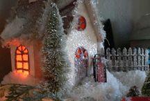 Christmas Village & Trees / Putz & Glitter Houses ~ Bottlebrush Forests / by Rachel Bell