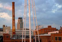 """Downtown Durham NC / A wonderful place to live *** One of the highest concentrations of creatives in the country ** The best of culture, southern charm, and a """"gritty"""" city  / by Rachel F"""