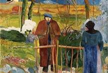 Gauguin / (París, 7 de junio de 1848 - Atuona, Islas Marquesas, 9 de mayo de 1903) fue un pintor posimpresionista. Jefe de filas de la Escuela de Pont-Aven e inspirador de los Nabis, desarrolló la parte más distintiva de su producción en el Caribe (Martinica) y en Oceanía (Polinesia Francesa), volcándose mayormente en paisajes y desnudos muy audaces para la época por su rusticidad y colorido rotundo,(París, 7 de junio de 1848 - Atuona, Islas Marquesas, 9 de mayo de 1903) fue un pintor posimpresionista. / by Juana Martín